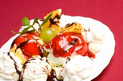 Ice cream. With fresh fruits and jam stock photo