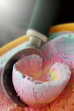 Ice cream. Colorful Ice cream scoop out from a container royalty free stock photo