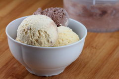 Ice cream. Vanilla and chocolate ice cream in a bowl Royalty Free Stock Image