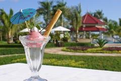 Ice cream. Sundae ice cream at an outdoro pool Royalty Free Stock Photo