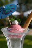 Ice cream. Sundae ice cream at an outdoro pool Royalty Free Stock Images