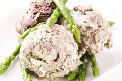 Ice cream. Asparagus ice cream as close up royalty free stock image