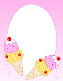 Ice cream. Cone border / frame two strawberry, vanilla flavored s Royalty Free Stock Photography