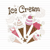 Ice cream. Beauty ice cream, hand draw illustration Royalty Free Stock Photography