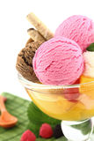 Ice cream. And fruits in a bowl royalty free stock photo