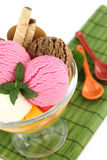Ice cream. And fruits in a bowl Royalty Free Stock Image