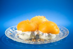 Ice Cream. Wanilla Ice Cream With Oranges Stock Photos