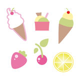 Ice cream. Various types of ice cream and fruit Stock Photo