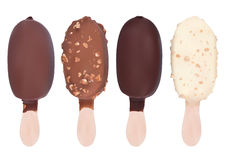 Ice cream. Set of different chocolate icecream dessert on wooden stick Royalty Free Stock Photo