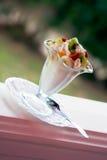 Ice-cream. With a banana, a strawberry and kiwi royalty free stock photos