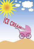 Ice cream. A baby screaming out of the buggy. Also available as EPS-file Stock Photo