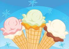 Ice-cream. On blue background with snowflakes vector illustration