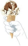 Ice cream. Illustration of an ice cream cone, also available in peach background Stock Photo