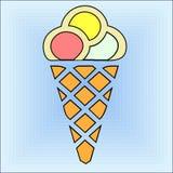 Ice cream. Illustration of an ice cream cone stock illustration