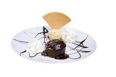 Ice cream. Delicious ice-cream with chocolate and cake Stock Photo