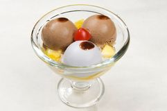 Ice cream. Three ice cream with fruit Royalty Free Stock Photography