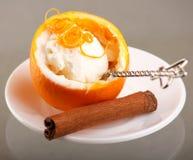 Ice cream. With fresh orange Stock Photography