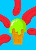 Ice-cream with acid. Drug food. Tongue licking ice cream addict Stock Image