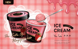 Ice cream ad. Strawberry flavor ice cream ad,  pink tartan background, 3d illustration Stock Images