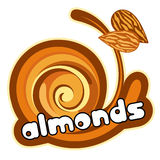 Ice cream almond stock illustration