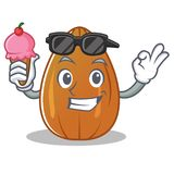 With ice cream almond nut character cartoon Royalty Free Stock Photography