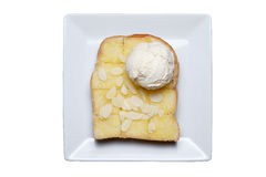 Ice cream and almond slice on toast Stock Photos