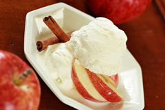 Ice cream and apple slices with apples Royalty Free Stock Photos