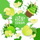 Ice Cream With Apple Taste Dessert Colorful Poster. Vector Illustration Stock Photos