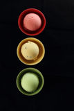 Ice cream arranged as traffic light Stock Images