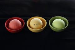 Ice cream arranged as traffic light Stock Image