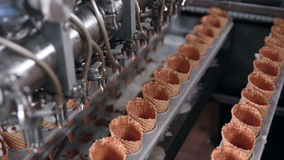 Ice cream automatic production line. stock footage