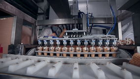 Ice cream automatic production line. stock video