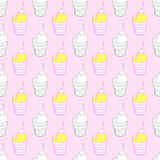 Ice cream background. Hand-drawn pattern. Colored ice cream on the pink background. Vector illustration Royalty Free Stock Photography
