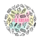Ice cream background. Template for design with hand drawn ice cream and place for your text. Illustrated cartoon background. Great for dessert menu and other Royalty Free Stock Images