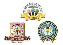 Ice cream badges and labels Royalty Free Stock Photography