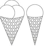 Ice cream ball cone black and white icon set. Coloring book page for adults and kids. Summer fast food  illustration for gift card, flyer, certificate or Stock Photos