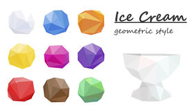 Ice cream balls, colorful. Geometric style. Vector Royalty Free Stock Photography