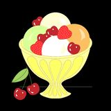 Ice cream balls with different toppings and flavors and fruits. Set of cartoon icons. Ice cream scoops with different toppings and flavors. Vanilla with stock illustration
