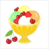 Ice cream balls with different toppings and flavors and fruits. Vector illustration stock illustration