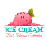 Ice cream banner with candy face. Vector illustration Royalty Free Stock Photos