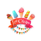 Ice cream banner with red ribbon. Vector illustration Stock Photography