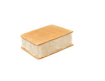 Ice cream bar. Vanilla covered with wafel  isolated over white Stock Photos