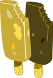 Ice Cream Bar. Two creamy ice cream bars on sticks in caramel and chocolate flavors Stock Photo