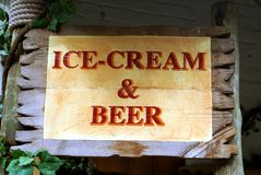 Ice-cream & beer sign Stock Photo