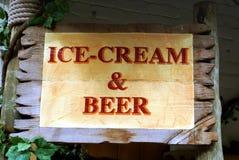 Ice-cream & beer sign Stock Photo