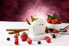Ice Cream with Berries Stock Photos