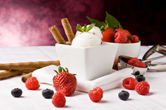 Ice Cream with Berries Royalty Free Stock Images