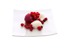 Ice cream with berries Stock Photo