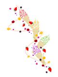 Ice cream,  berries and fruits Royalty Free Stock Photos