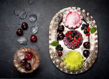 Ice cream with berries. Homemade ice cream with berries and fruits Royalty Free Stock Photos